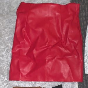 High waisted red faux leather skirt- brand new